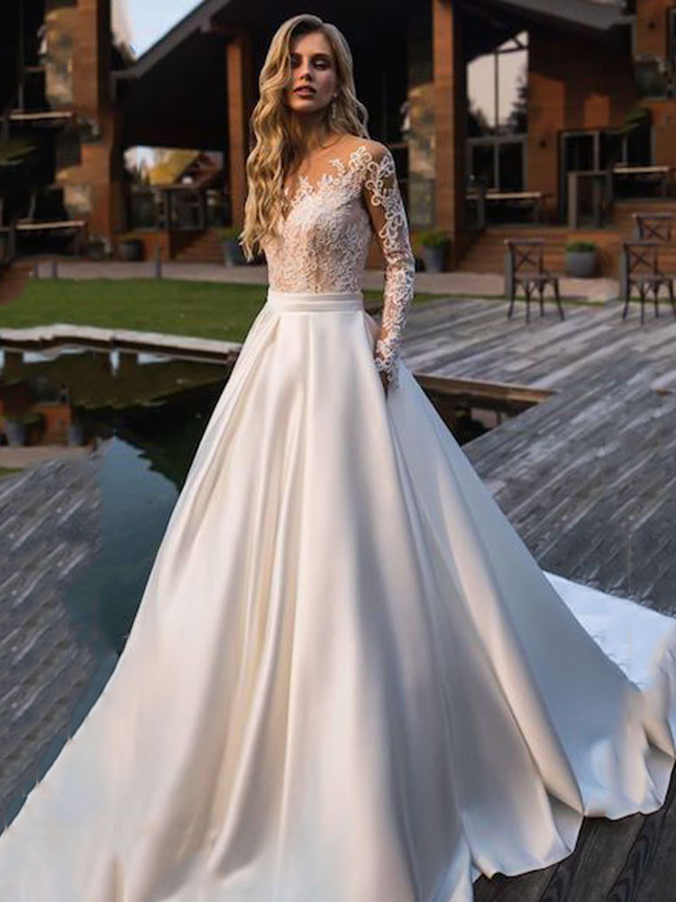 Best Top 10 Satin With Back Button Wedding Dress Near Me And