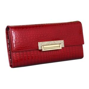 Image 4 - genuine leather wallet women long ladies leather wallets  2020 new woman purse diamond womens leather wallets