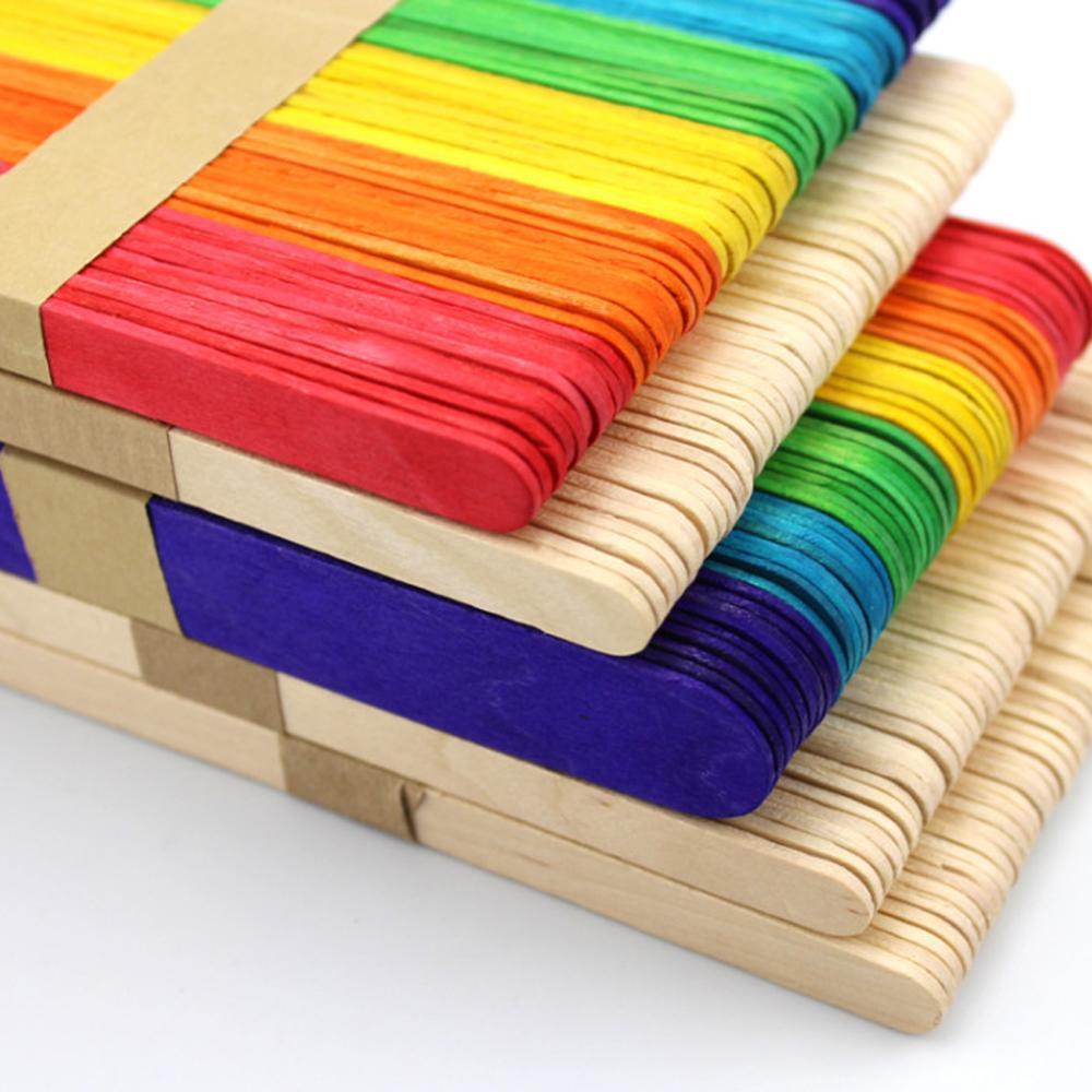 50 шт./лот цветные деревянные палочки для мороженого, натуральные деревянные детские палочки для мороженого, Детские ручные ремесла «сделай ...