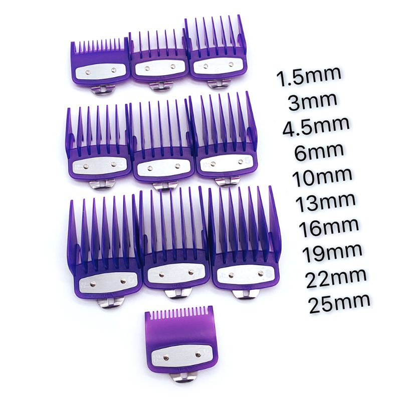 2/8/10PCS Barber Shop Styling Guide Comb Set Hair Trimmer Attachment Hairdresser Clipper Purple Limit Comb With Metal Clip