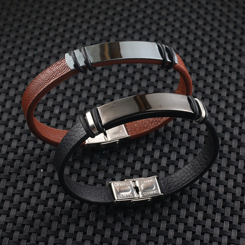 Fashion Black/Brown Leather Bracelet for Men Women Jewelry Simple Style Black Stainless Steel Buckle Bangle