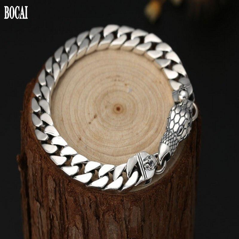 100% 925 pur argent bijoux Thai argent bracelet pour homme serpent tête boucle hommes bracelet cadeau personnalisé S925 argent bracelet