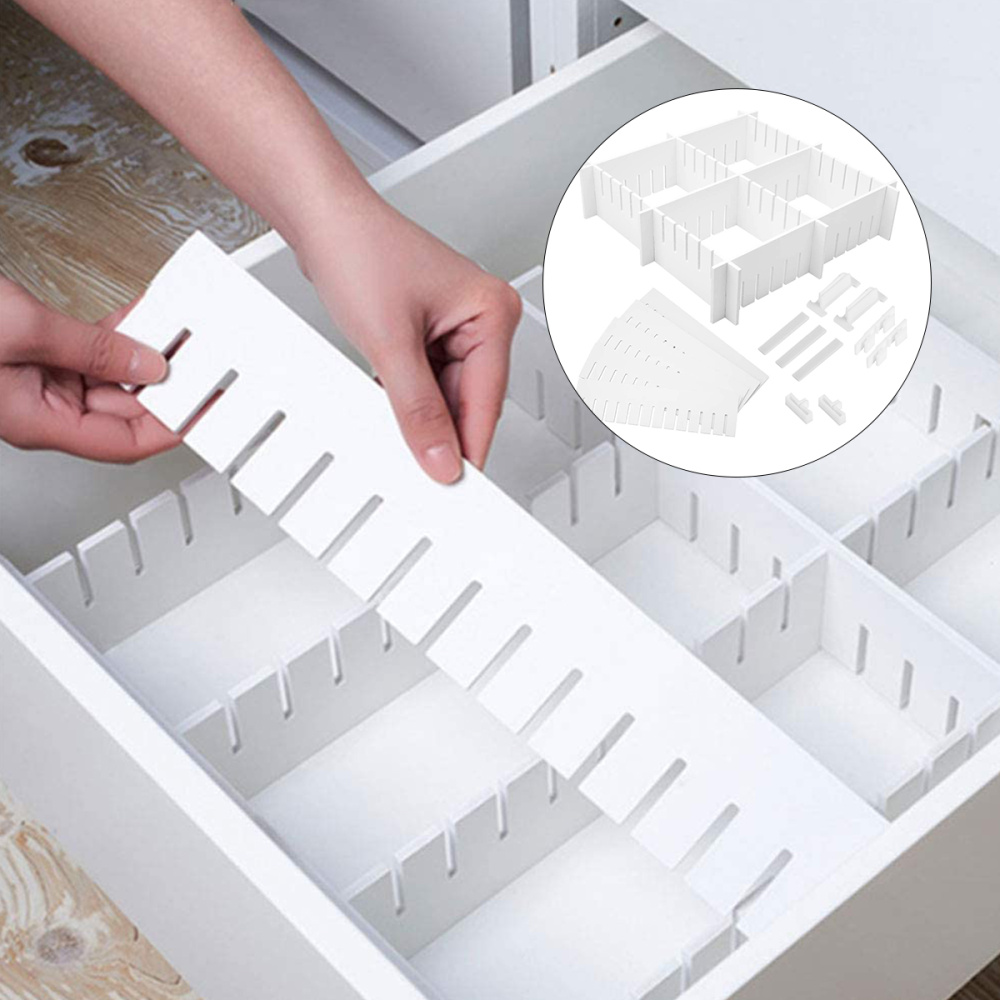 34 Pcs PP Drawer Dividers Free Combination Organizer Adjustable Drawer Partition