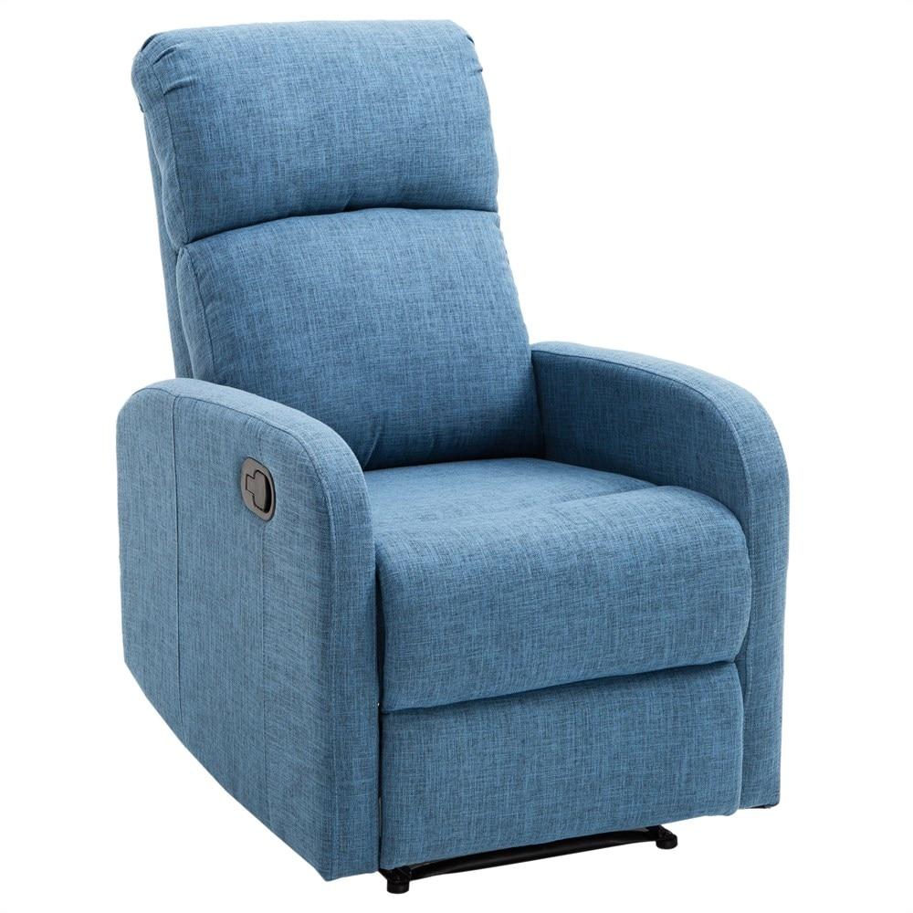 HOMCOM Manual Chair Relax Recliner With Ottoman Reach 125kg Linen Fabric 66 × 95 × 99cm Blue