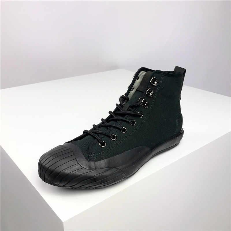 Homens de alta qualidade sapatos de lona à prova dwaterproof água vintage baixo superior sapatos casuais apartamentos amantes segurança tênis chaussure homme trabalho tornozelo botas