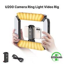 Ulanzi U-200 smartphone vídeo rig led luz de vídeo 2 em 1 anel luz com sapato frio para microfone tiktok youtube live rig luz