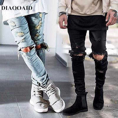 DIAOOAID 2018 men biker jeans hiphop street designer destroyed ripped skinny distressed male high quality comfortable pants
