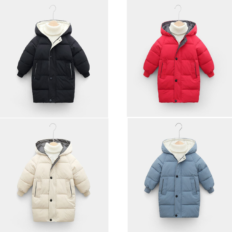 kids winter coat 2020 long sleeve hooed Outerwear Clothes Warm Children Toddler fashion thicken cotton Padded clothing red black