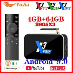 X3 PRO Amlogic S905X3 TV BOX Android 9,0 TV caja X3 cubo 4GB RAM 64GB ROM Set Top Box 2,4G/5G WiFi 1000M 4K X3 más reproductor de medios
