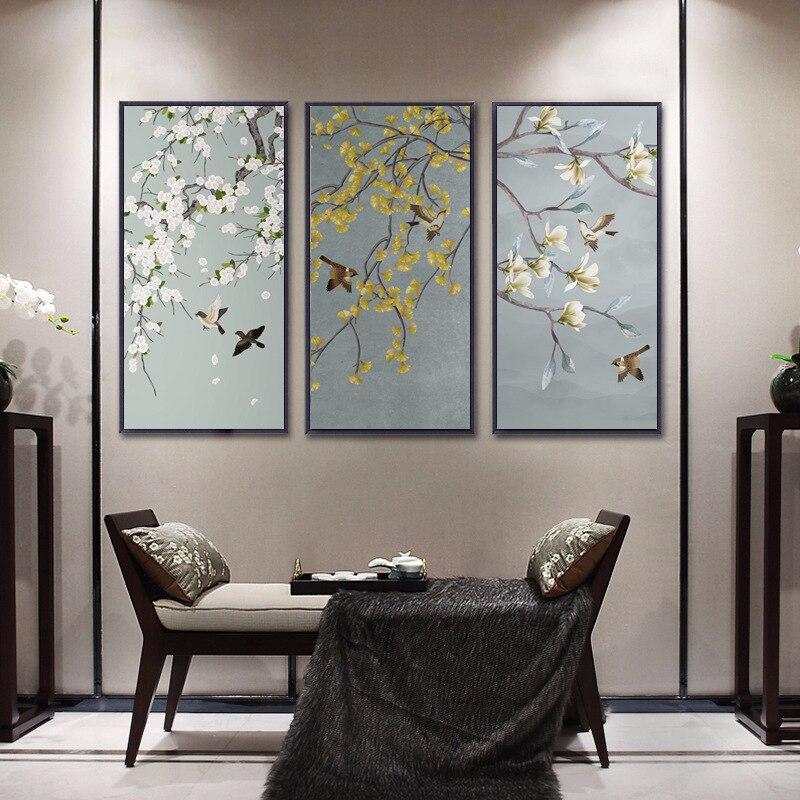 Новый постер и печать на холсте в китайском стиле с изображением ветвей птиц и цветов, художественные настенные картины для гостиной, домашний декор