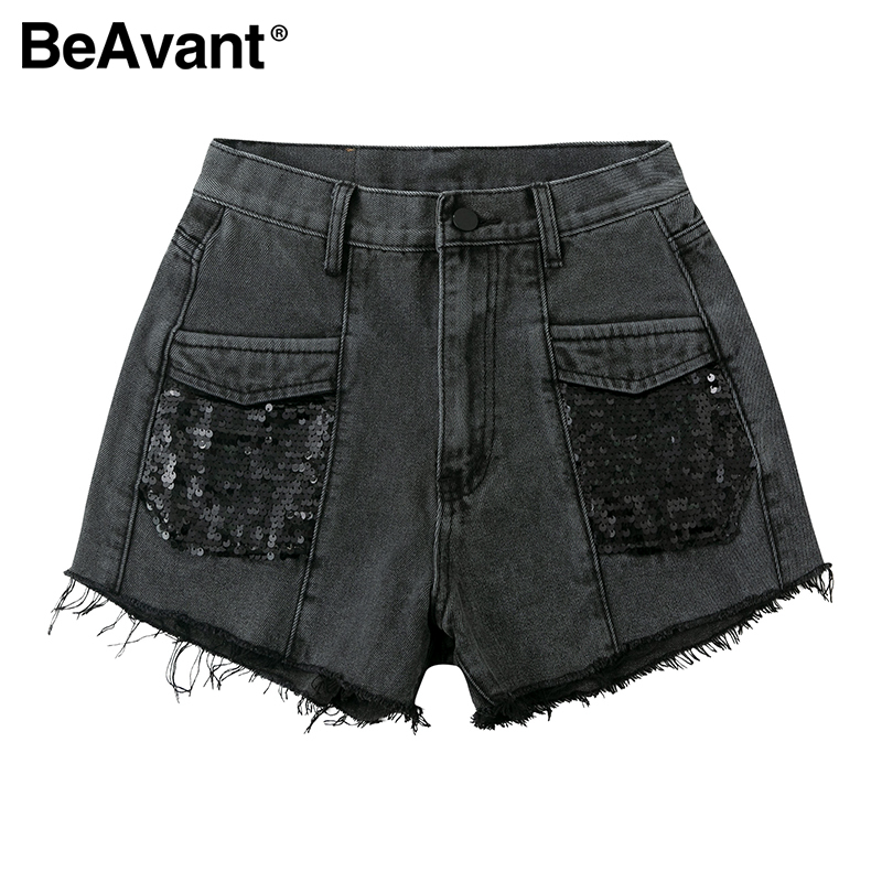 BeAvant 2020 Summer Denim Shorts Women High Waist Sequins Sexy Jeans Short Streetwear Female Straight Shorts Button Party Night