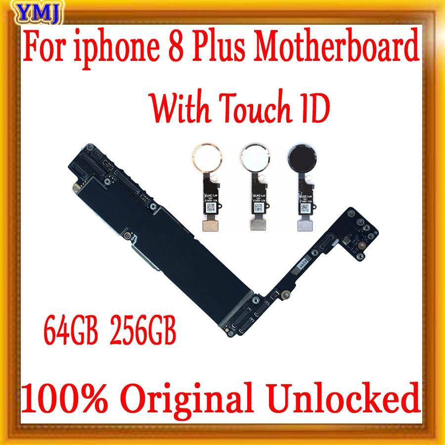 For iphone 8Plus 8P Original IOS system Logic board+Fingerprint 64GB 256GB Full unlocked mainboard for iphone 8 Plus motherboard