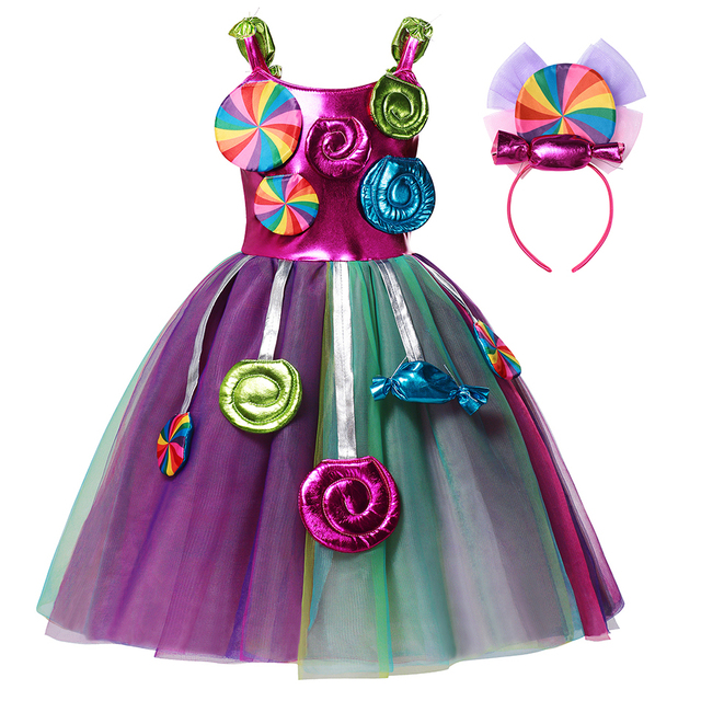 AEMUAKIDS Candy Color Tulle Dress for Girl Halloween Party Kids Cosplay Costume Little Girl Floral Casual Dresses 2