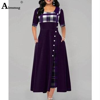 Plus size 4xl 5xlvWomen Elegant Long Plaid Print Party Dresses Irregular Ladies Vintage Button Dress Patchwork A-Line