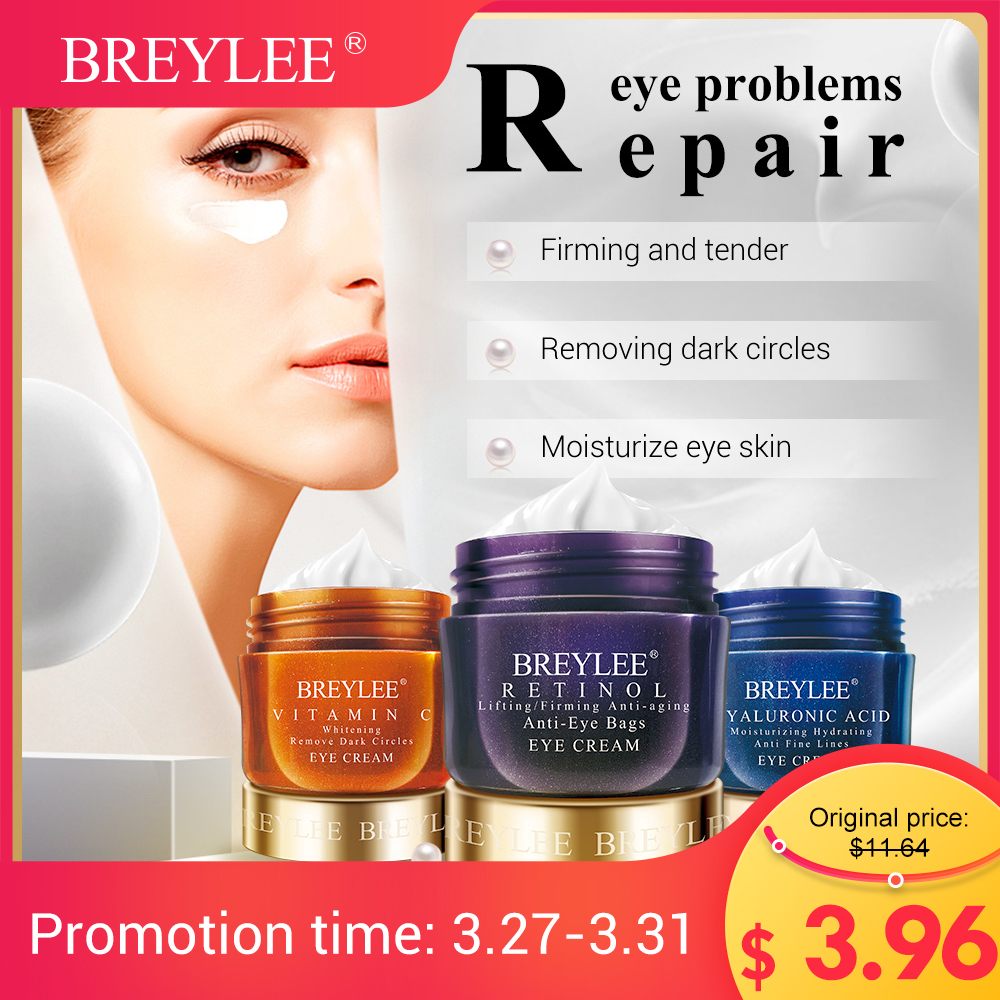 BREYLEE Eye Cream VC Whitening Dark Circles Retinol Lifting Firming Skin Eye Bags Hyaluronic Acid Moisturizing Serum Skin Care