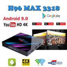 Brasil Smart-Tv-Box Google-Player Rockchip RK3318 H96MAX 4GB + 64GB Netflix Youtube H.265 BT4.0 H96 boxes ip tv android box