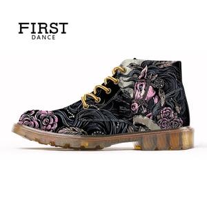 Image 3 - 最初のダンスファッションメンズスカル男性のファッションブーツスケルトンプリント黒素敵な足首の靴男オックスフォードスプリントブーツ男性