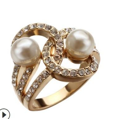 Lady Wholesael Ring-Size Pearl Diamond 925-Silver Crystal Inlay V4.5 6--9 Chaming 3pcs/lots