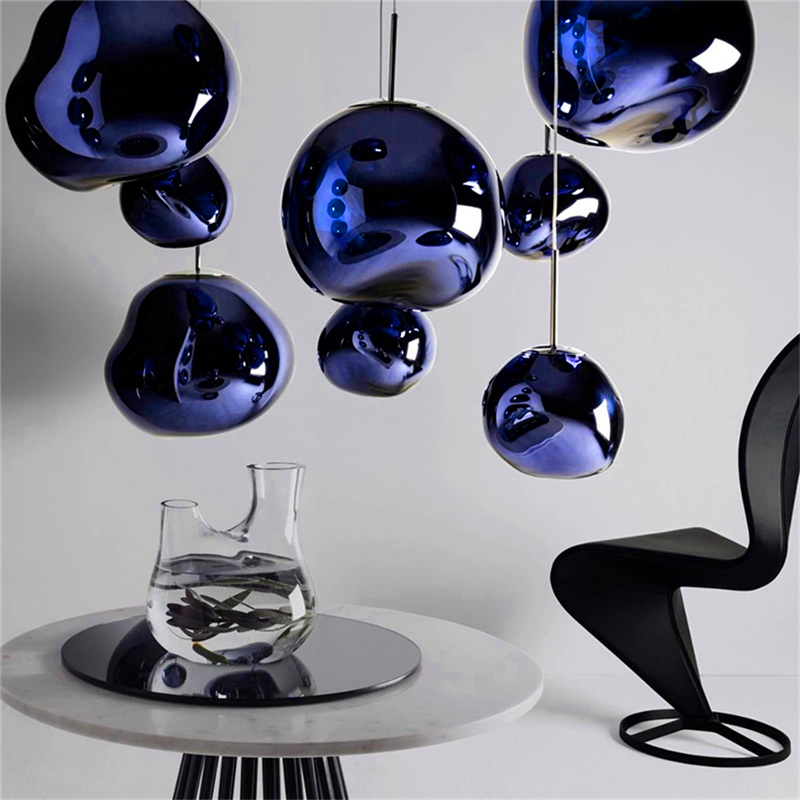 Nordic Blue Glass Pendant Lights Lustre Led Modern Lava Hanging Lamp For Living Room Indoor Lighting Industrial Lamp Hanglamp