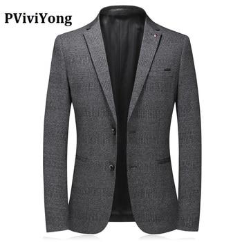 PViviYong Brand 2020 high quality leisure business men's suit top Blazers slim fit Dark gray elastic suit jacket men A37