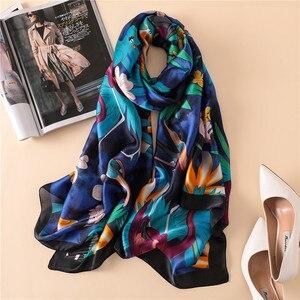 Women Parrot Pattern 100 Natural Silk Scarf Luxury Designer Bird Wraps and Shawls Brand Long Foulard Bandana Beach Cover-ups New