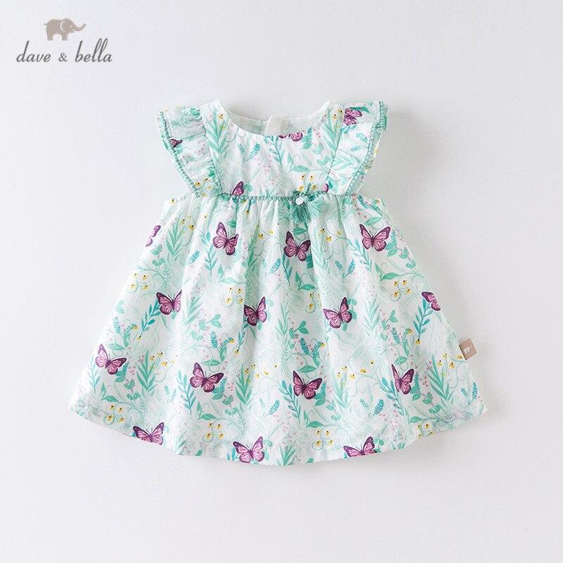 DBM14176 Dave Bella Summer Baby Girl's Cute Butterfly Print Dress Children Fashion Party Dress Kids Infant Lolita Clothes