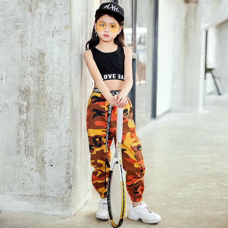 Fashion Kinderen Jazz Dans Kostuum Voor Meisjes Hip Hop Straat Dansen Kleding Vest Broek Kids Prestaties Dans Kleding DL2033