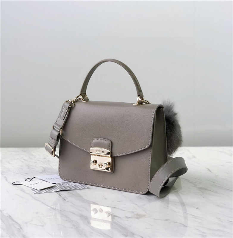 Original FURLA Women's Bags,High Quality Big Size Women's Furla Leather Bags Grey Color Size 23cm*8cm*17.5cm
