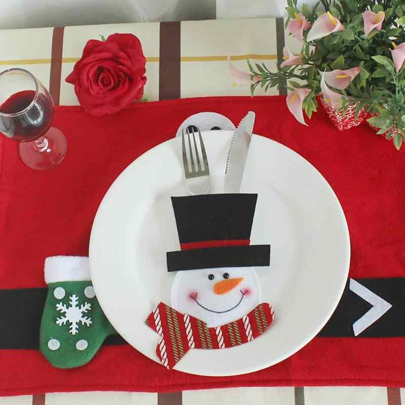 Christmas Knife Fork Bag Kitchen Dinner Table Cutlery Handicraft Restaurant Hotel Arrangement Pocket Party Xmas Decor