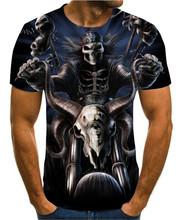 Lato męska koszulka nowy 3D T-Shirt z nadrukiem męska czaszka diabeł t-shirt lato czarny T-shirt okrągły dekolt plaża gorący T-Shirt tanie tanio Krótki O-neck Topy Tees routine Suknem Poliester Na co dzień Floral