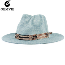 GEMVIE 2020 여성을위한 부드러운 모양의 파나마 스타일의 종이 밀짚 모자 남성용 여름 모자 Sun Beach Hat Jazz Fedora