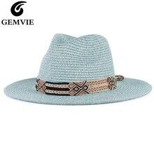 GEMVIE 2020 miękki w kształcie Panama styl papierowy kapelusz słomkowy dla kobiet kapelusz na lato dla mężczyzn kapelusz na plażę Jazz Fedora
