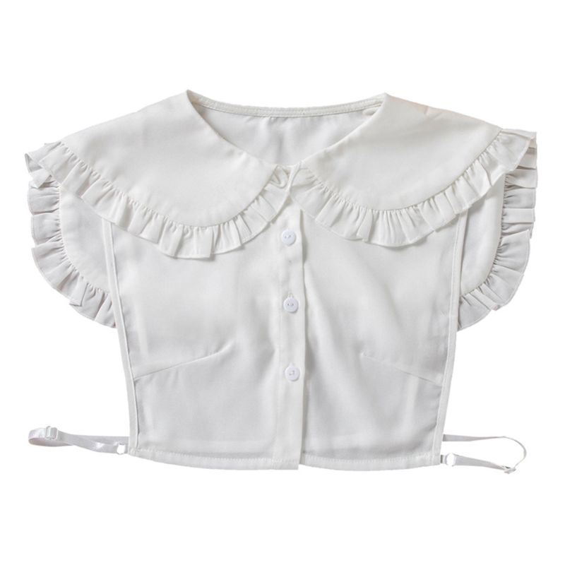 Women Girls Doll Detachable Fake Collar Ruffles Lapel Shawl Shoulder Wrap Shirt