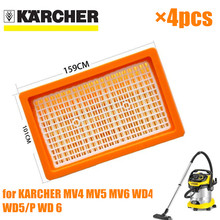 4 個karcherフィルターkarcher MV4 MV5 MV6 WD4 WD5 WD6 ウェット & ドライ掃除機の交換部品 #2.863 005.0 hepaフィルター