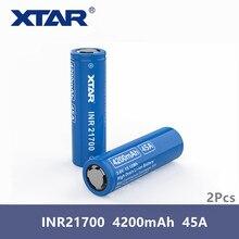 2 個オリジナル Xtar 充電式バッテリー INR 21700 バッテリー 4200mAh 3.7V バッテリー高ドレイン最大 45A パルス放電フラットトップ