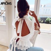 Aproms Elegant Lace Emboridery Sleeveless Blouse Shirt Women Summer Sexy White Ruffles Open Back Bow Tie Top 2021