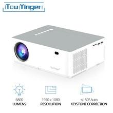 Touyinger m19k melhor led 1080p projetor completo hd 6800 lumens fhd auto keystone projetores de vídeo 3d filme beamer casa teatro