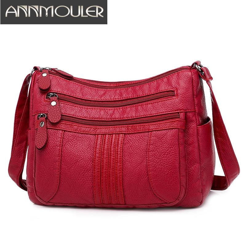 Soft Leather Women Shoulder Bag Casual Women's Crossbody Bag Purse Female Handbags Washed Leather Messenger Bag Bolsa Sac A Mai