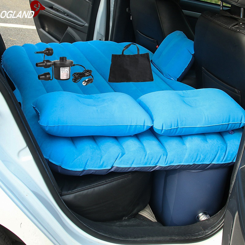 OGLAND Aria Auto Gonfiabile di Viaggio Zerbino treccia Letto per Auto Sedile Posteriore Zerbino treccia Multifunzionale Divano Cuscino Outdoor Materassini da campeggio Cuscino