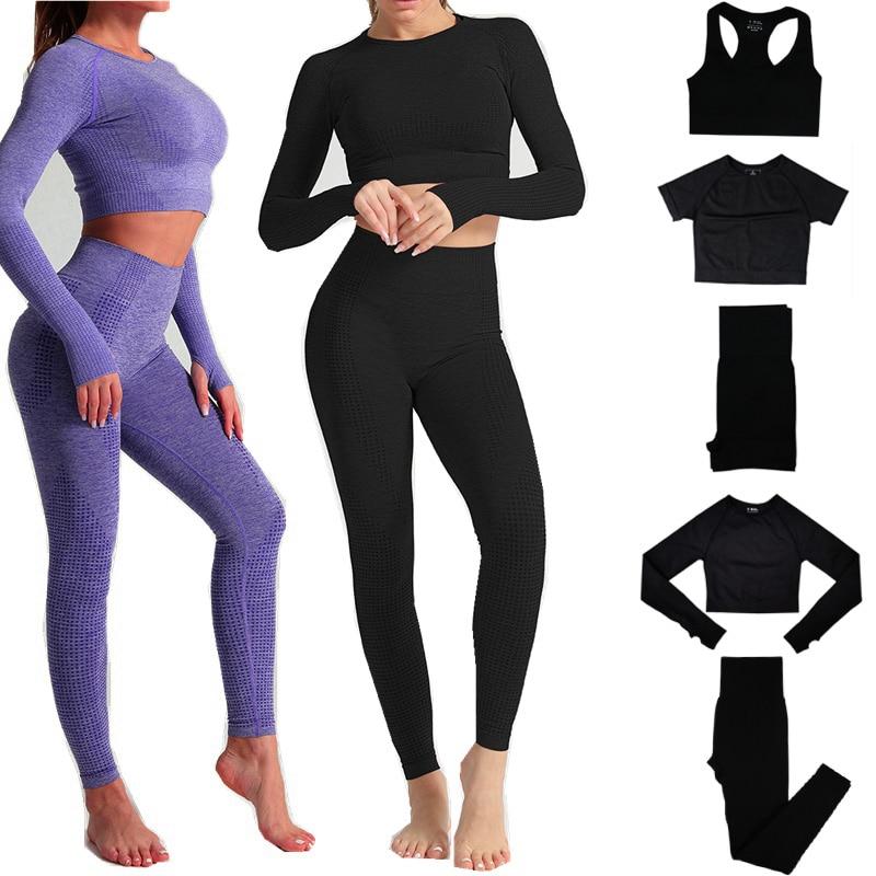 Женский бесшовный комплект для йоги, спортивные костюмы для фитнеса, спортивная одежда с длинным рукавом, укороченный топ, футболки, леггин...