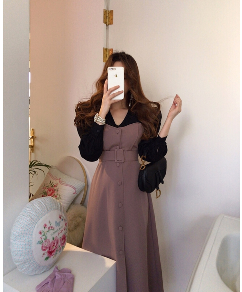 French style Spring autumn Women Casual Party Dresses Eleagnt lace-up Slim Dress Fashion