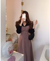 French style Spring autumn Women Casual Party Dresses Eleagnt lace up Slim Dress Fashion