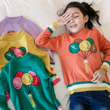 Cartoon Balloon Picture Girls Sweater for Winter O-Neck Christmas Kids Inside Wear Clothes Baby Girl Jacket 2-12 Y