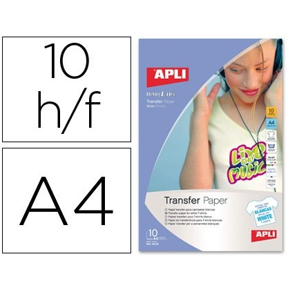 PAPER TRANSFER FOR T SHIRTS WHITE SIZE A-4 FILED IN FOLDER DE 10 SHEETS