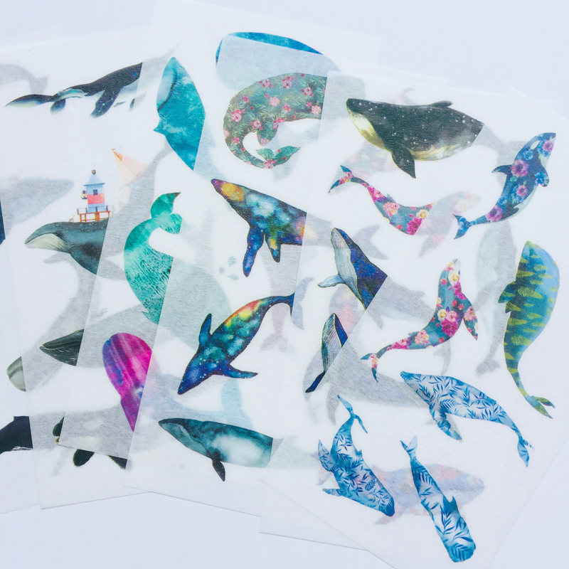 6 Sheets /Pack Whales In The Starry Sky Washi Paper Decorative Stickers Computer Notebook Decor