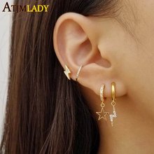 100% 925 sterling silver Lightning bolt stud earring gold filled white cz paved simple minimal declicate studs for girls jewelry