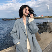 купить Fashion 2019 Women Coat Autumn outerwear winter clothing fashion warm woolen blends female elegant Single Breasted woolen coat по цене 826.51 рублей