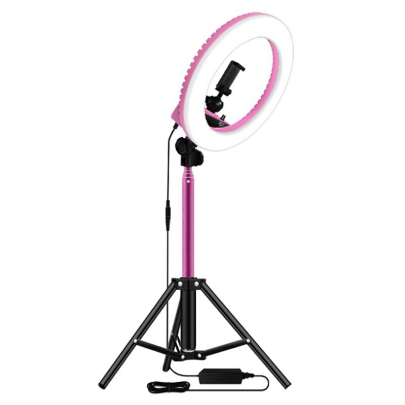 Anillo de luz de 14 pulgadas regulable 5500K LED con trípode de 1,6 M para lámpara de estudio fotografía YouTube foto maquillaje anillo luz enchufe de la UE