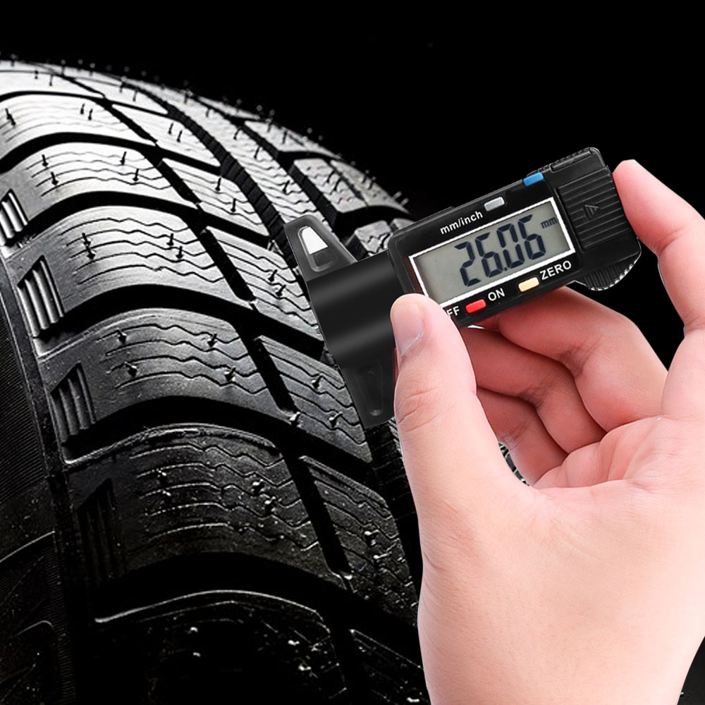 Trucks housesweet Digital Tyre Tread Depth Gauge 0-25 mm Portable Tyre Tread Tester Checker Tyre Measurement with LCD Display for Cars Vans
