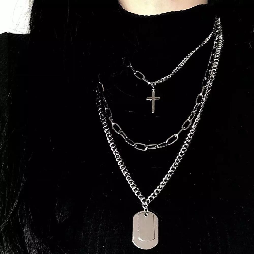2020 модные многослойные серебряные Цвет с металлической цепью ожерелье в стиле хип-хоп, панковские геометрические ожерелья с подвесками для...